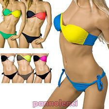 Bikini costume FASCIA push up moda mare BRASILIANA donna laccetti B0350