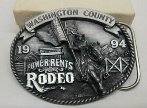 COLLECTIBLE WASHINGTON COUNTY 1994 POWER RENTS RODEO BELT BUCKLE LTD ED #481