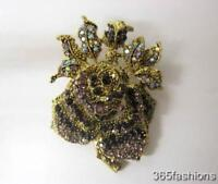 STATEMENT ROSE FLOWER RHINESTONE FAUX CRYSTAL BROOCH PIN PURPLE GOLD