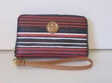 Tory Burch Kerrington Smartphone Wristlet Stripe blue red white wallet gold logo