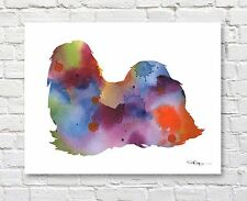 SHIH TZU Contemporary Watercolor ART Print by Artist DJR