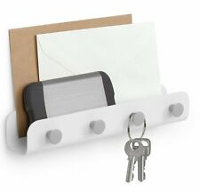 Umbra YOOK 4 Key Hook WALL ORGANISER Storage Caddy WHITE & Grey