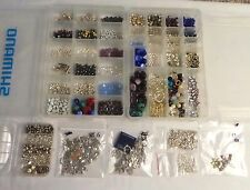 Lot Of Jewelry Making Beads & Charms STERLING SILVER Stone Glass Gemstones