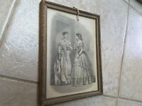 Victorian Era Etching Artwork Print Girls Women in Gowns