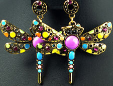 vintage stytle multi-colour crystal dragonfly drop dangle earrings antique gold