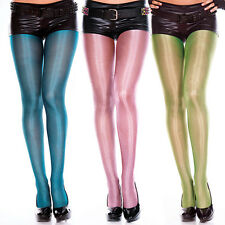 Shiny Metallic Neon Mermaid Color Wet Look Tights Halloween Costume Pantyhose OS