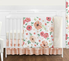 Peach Green Shabby Chic Watercolor Floral Baby Girl Bumperless Crib Bedding Set