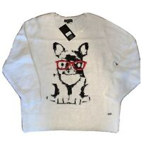 Black Rivet Hipster French Bulldog Dog In Glasses Fuzzy White sweater Xl
