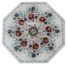 """18"""" White Marble Top Coffee Table Carnelian Inlay Art Outdoor Mosaic Deco H3029A"""