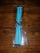 Brand New Butterfly blue LEATHER  BRACELET Woman Braided