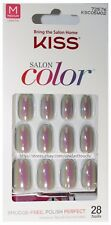 KISS 28 Nails SALON COLOR Glue/Press-On IRIDESCENT GRAY Medium OVAL New! #72576