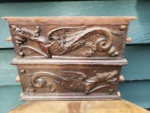 antique oak ornate wooden wood pediment carved drawer panel Griffin