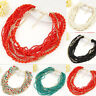 Fashion Beads Pendant Crystal Choker Chunky Chain Statement Bib Necklace Jewelry