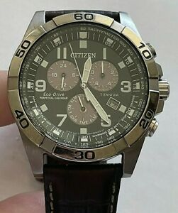 43mm Citizen Titanium Eco Drive Perpetual calendar mens watch, E820-R009818
