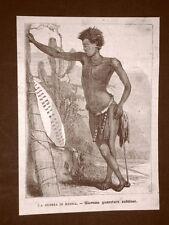 Sudafrica nel 1879 Guerriero Trubù dei Zulu o Zulù Nazione Ngoni Africa