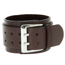 Cool Adjustable 2 Layer Men's Leather Brown Wristband Cuff Belt Bracelet 1pc