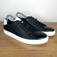DUNE Mens Black Leather Low Top Lace-up Trainers | Size UK 9, EUR 43 *RRP £85*