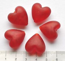 5 x frosted red, heart shaped, lampwork glass beads, 27 gms    20 mm  81