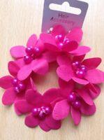 Un Profondo Rosa Perlina E Fiore Elastico per Capelli /Coda Fascia / Bobble