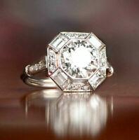 Art Deco 2.95Ct Round & Baguette Diamond Vintage Antique 1895-1935 Ring in 925