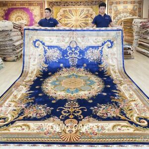 9x12ft Large French Silk Area Rugs Medallion Blue House Carpets Handmade 621A