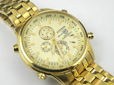 Gents Citizen Cal:6870 Alarm Chrono Gold Dress Watch - 100m