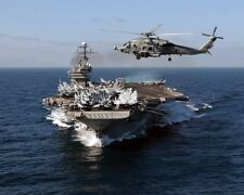 "New 8x10 Photo: Aircraft Carrier USS JOHN F. KENNEDY with ""Seahawk"" Helicopter"