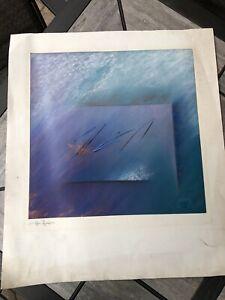 Kati Roberts Pastel Original Abstract Approx 36x28 Deep Blue Signed Art Watercol
