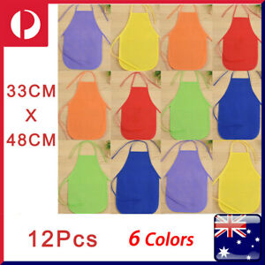12 X Kids Solid Color Apron bib for kid DIY Painting feeding Anti-Dirty 6 Colors
