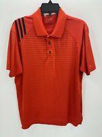 Adidas Mens Medium Golf Shirt ClimaCool Red Stripe Short Sleeve Polo Golfer