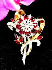 MAGNIFICENT 1942 PATENT COROCRAFT RUBY RED RHINESTONE ART NOUVEAU FLORAL BROOCH