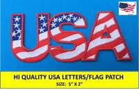 "USA LETTERS AMERICAN FLAG EMBROIDERED PATCH IRON SEW-ON (5""x 2"")- HIGH QUALITY!!"