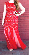 DAVIDS BRIDAL FORMAL MAXI GOWN RED LACE WITH CORSAGE SIZE 10