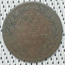 1862 - Straits Settlements - 1 Cent Victoria India Straits #CBJS