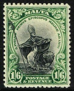 SG 204 MALTA 1930 - 1/6d BLACK & GREEN - MOUNTED MINT