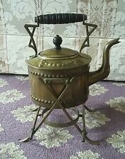 Antique Vintage American Arts and Crafts Gothic Brass Kettle with Stand