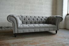 MODERN HANDMADE STONE GREY WOOL VELVET CHESTERFIELD SOFA COUCH CHAIR 3 SEATER