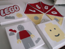 Children's Lego bunting +3 handmade Lego canvas pictures  bedroom/playroom