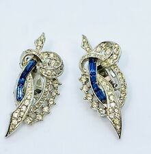 VINTAGE Sign Marvella Ice Clear Blue Rhinestone Baguette Clip On Earrings WoW!