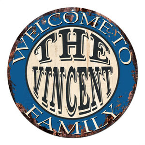CPH-0608 Welcome to THE VINCENT FAMILY Chic Tin Sign Man Cave Decor Gift Ideas
