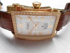 BIG CASE SWISS GOLD PALTED DIAMOND BEZEL KOLBER GENEVE DATE QUARTZ WRISTWATCH