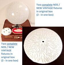 """PAIR NOS Vintage 13"""" Round Saucer GLASS CEILING LIGHT FIXTURE RETRO Shade Deval"""