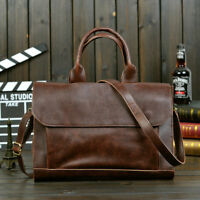 Mens Vintage Leather Messenger Business Laptop Briefcase Handbag Satchel Bag
