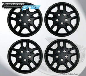 "Pop-On Wheel Rims Skin Cover 15"" Inch Matte Black Hubcap 15 Inches #523 Qty 4pc"