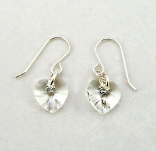 Sterling Silver Drop Earrings made with SWAROVSKI ELEMENTS Crystal Heart Clear