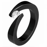Bypass TITANIUM Black Plated RING with 4.5mm ROUND CZ, size 6 - in Gift Box