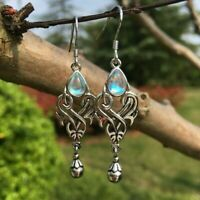 Vintage Rainbow Moonstone Dangle Drop Hook Earrings  Silver Womens Jewelry