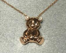 14k Rose Gold Diamond Teddy Bear Pendant 3D charm