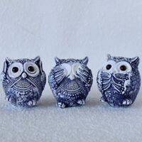 Set of 3 Hamptons Blue No See Speak Hear Owls Figurine Statue Ornament Sculpt...
