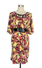 LEONA EDMISTON Dress - Butterfly Print Yellow Pink Black Vintage Tunic - 12/14